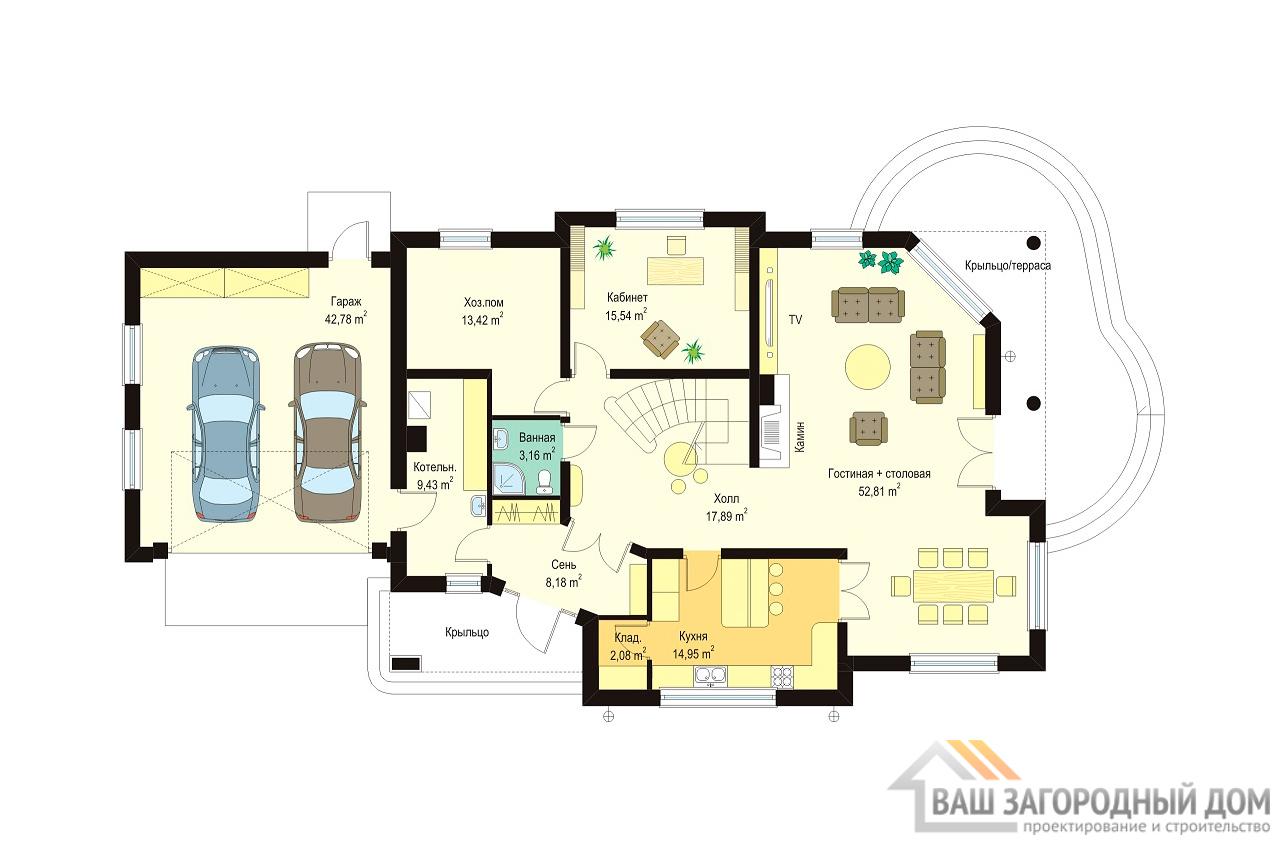 Проект дома в 2 этажа площадью 417 м2 + чердак + гараж