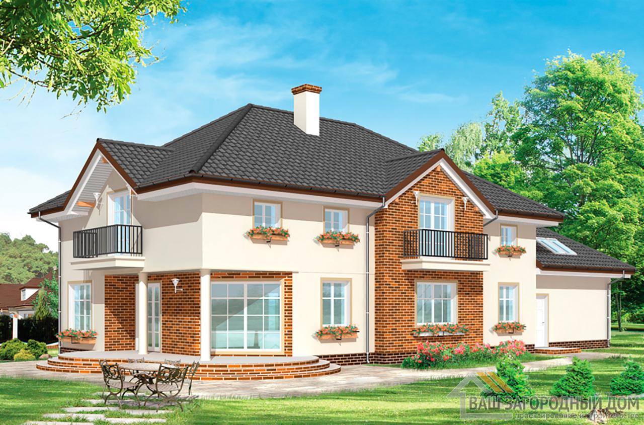 Проект дома в 2 этажа площадью 417 м2 + чердак + гараж вид 2