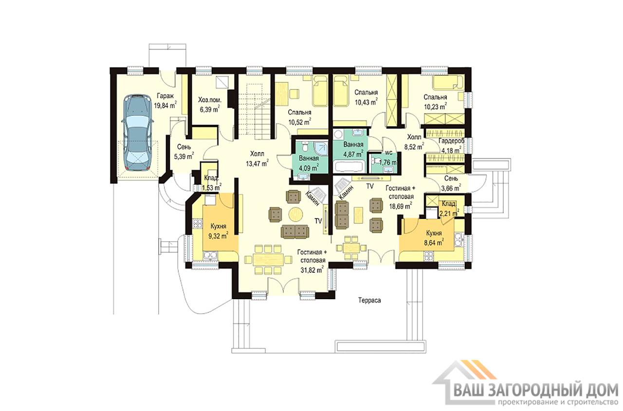 Готовый проект одноэтажного дома с жилым чердаком площадью 335 м2 + гараж на одно авто  вид 2