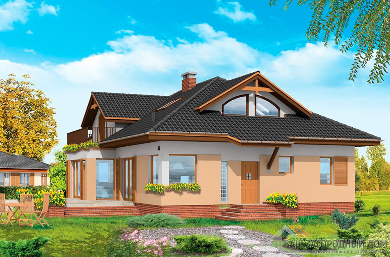 Готовый проект одноэтажного дома с жилым чердаком площадью 335 м2 + гараж на одно авто  вид 4