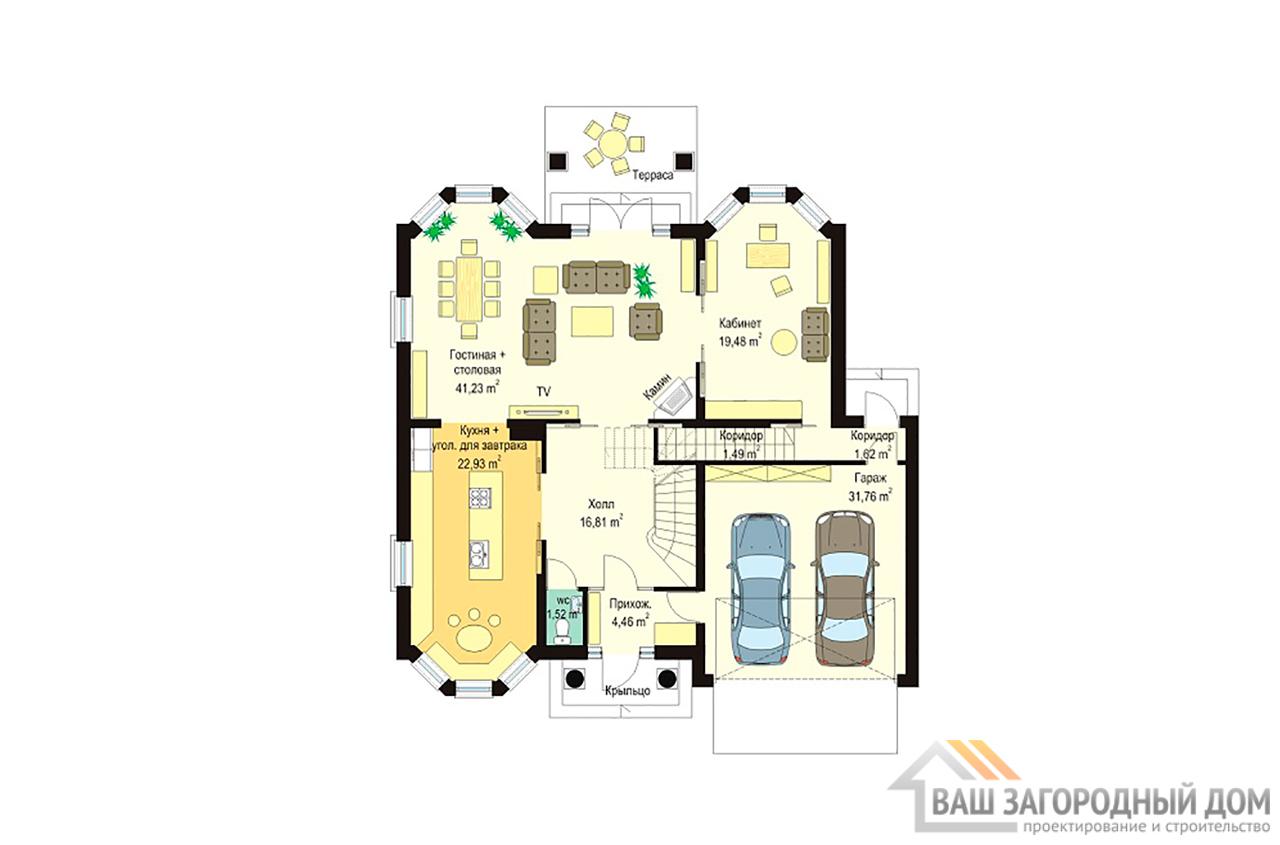Готовый проект 2 этажного дома площадью 452 м2 + гараж вид 3
