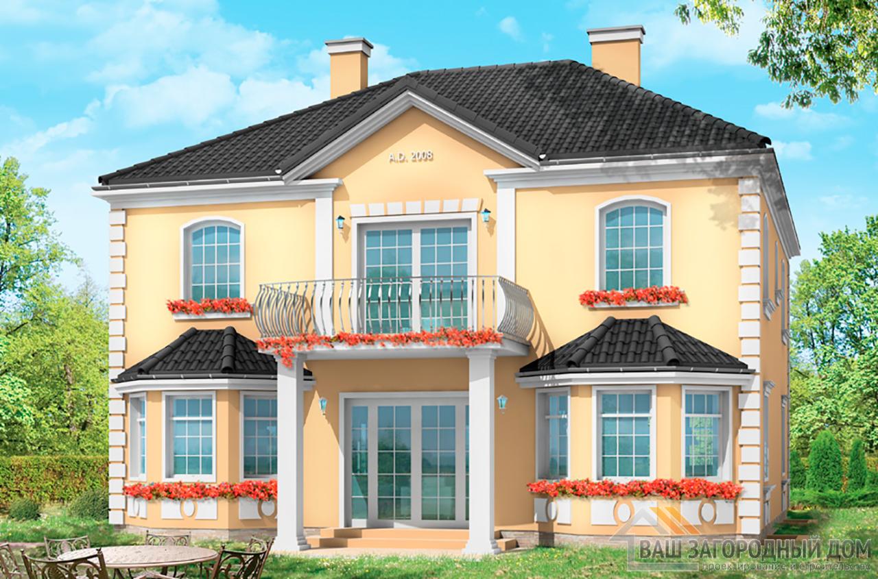 Готовый проект 2 этажного дома площадью 452 м2 + гараж вид 6