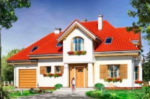 Проект классического одноэтажного  дома с мансардой площадью 230 м2 + гараж