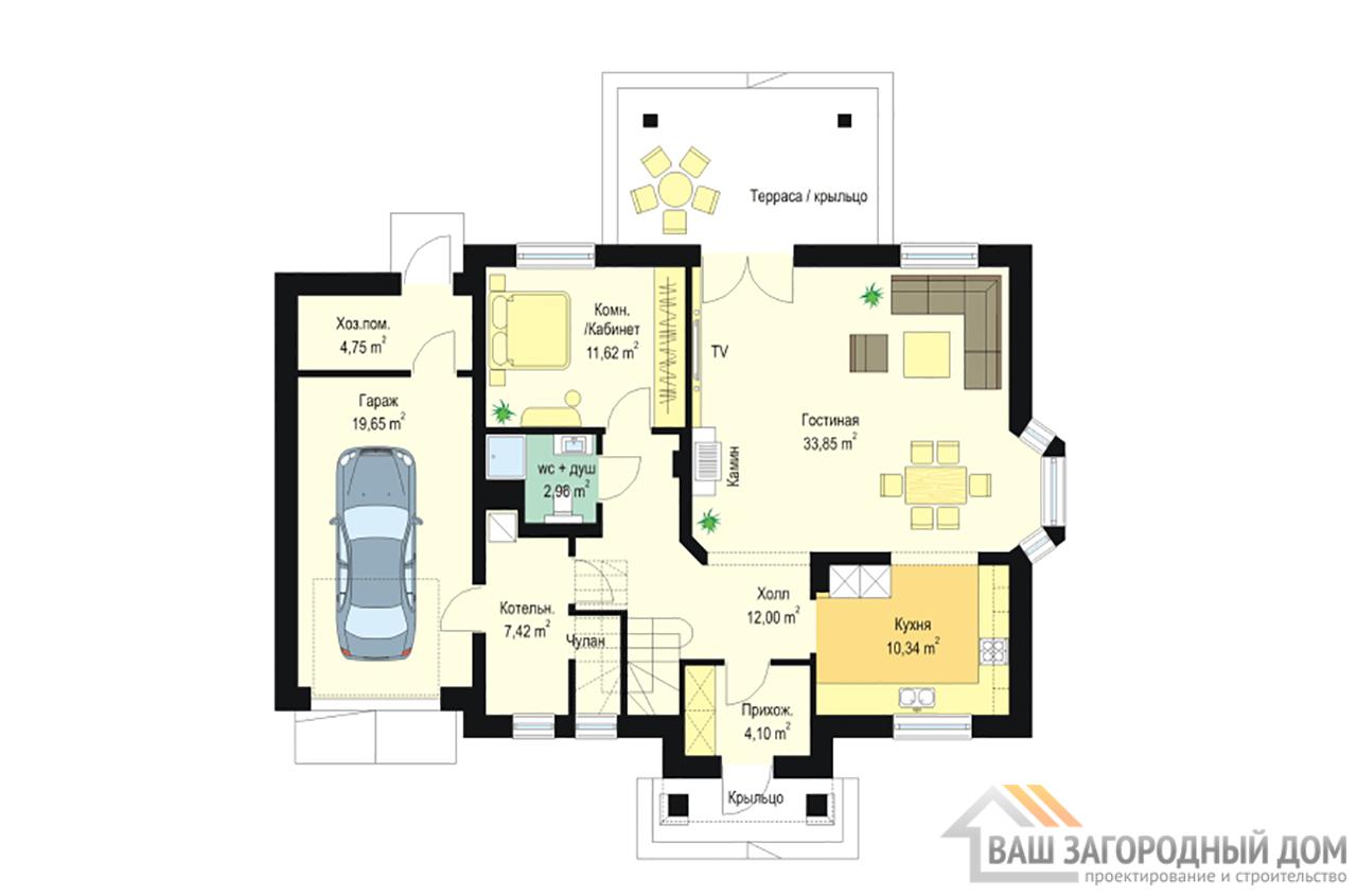 Проект классического одноэтажного  дома с мансардой площадью 230 м2 + гараж  вид 2