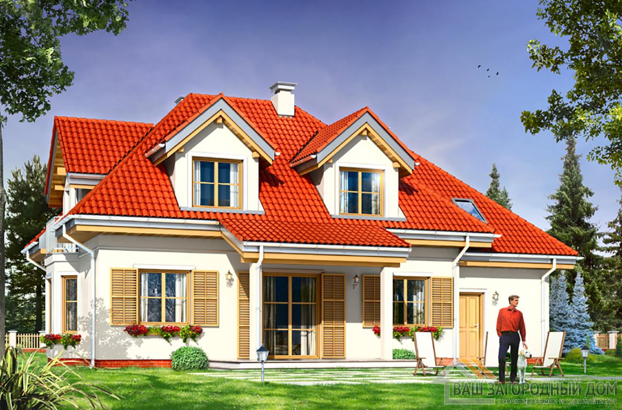 Проект классического одноэтажного  дома с мансардой площадью 230 м2 + гараж  вид 3