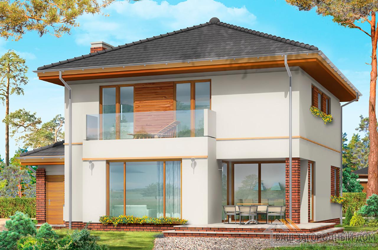Проект двухэтажного строения с пристроенным гаражом площадью 227 м2  вид 5
