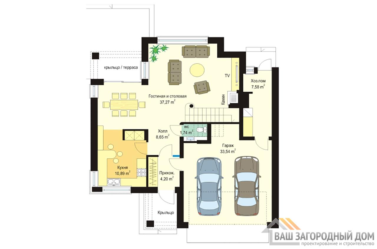 Проект двухэтажного строения с пристроенным гаражом площадью 227 м2