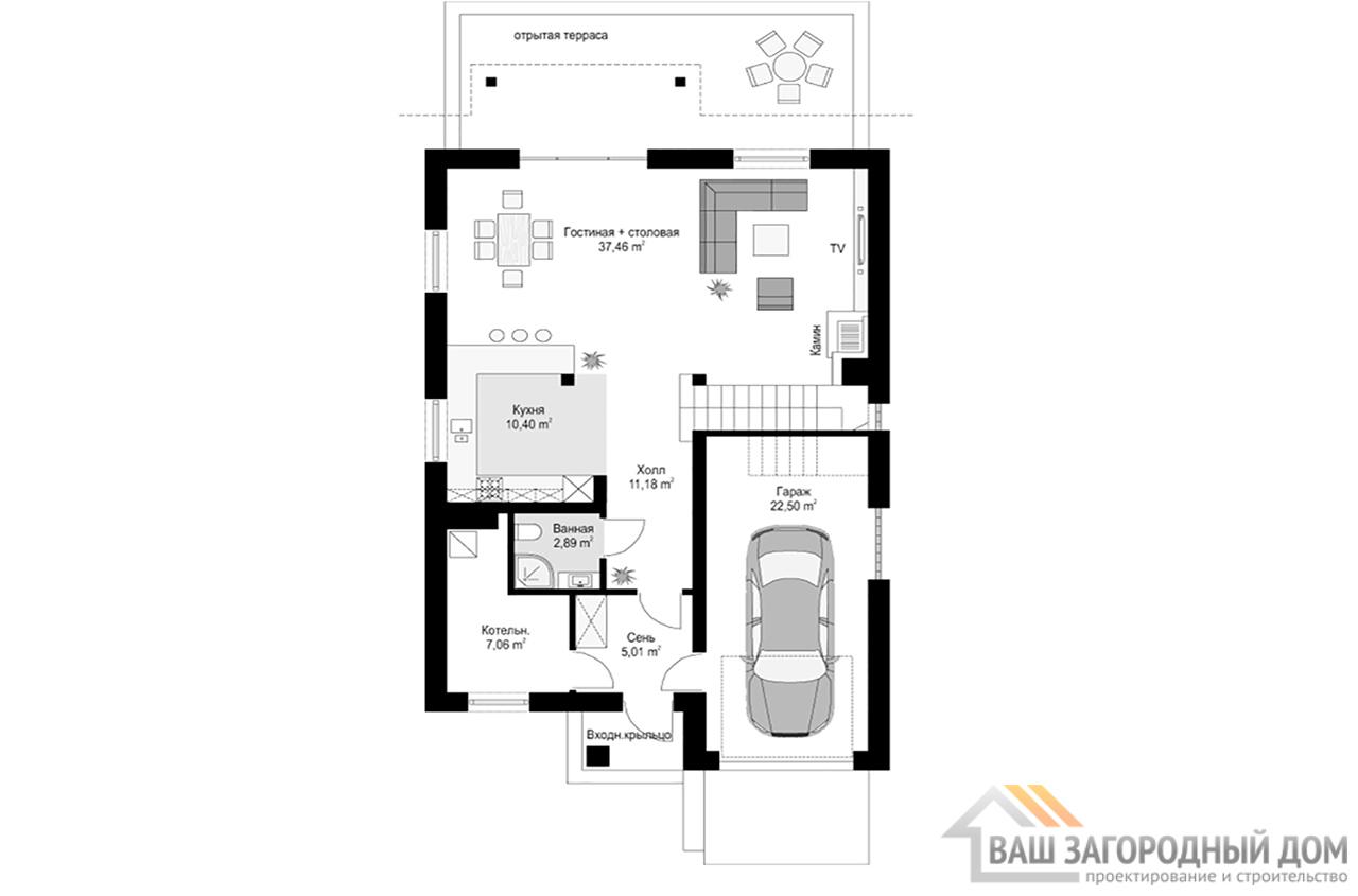 Стандартный проект одноэтажного дома с мансардой площадью 219 м2  вид 4