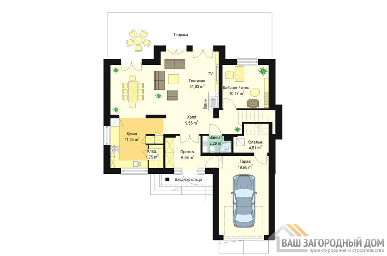 Типовой проект дома в  один этаж с мансардой площадью 195 м2 вид 3