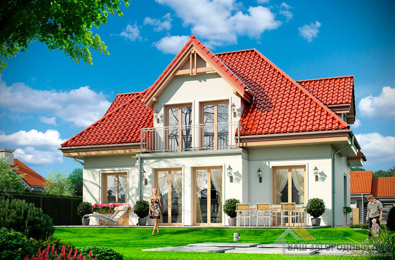 Типовой проект дома в  один этаж с мансардой площадью 195 м2 вид 4