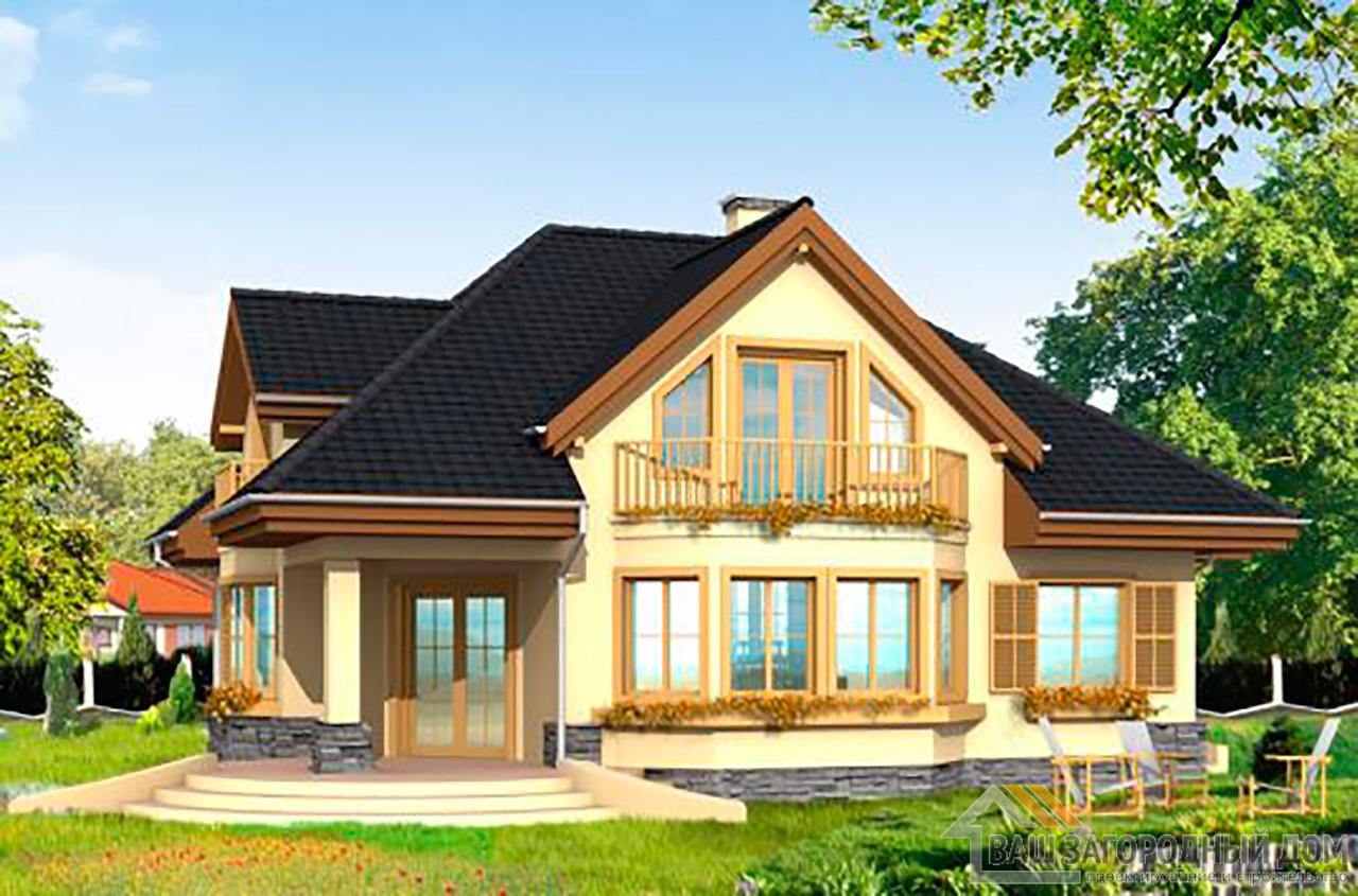 Типовой проект одноэтажного дома с мансардой площадью 266 м2  вид 2