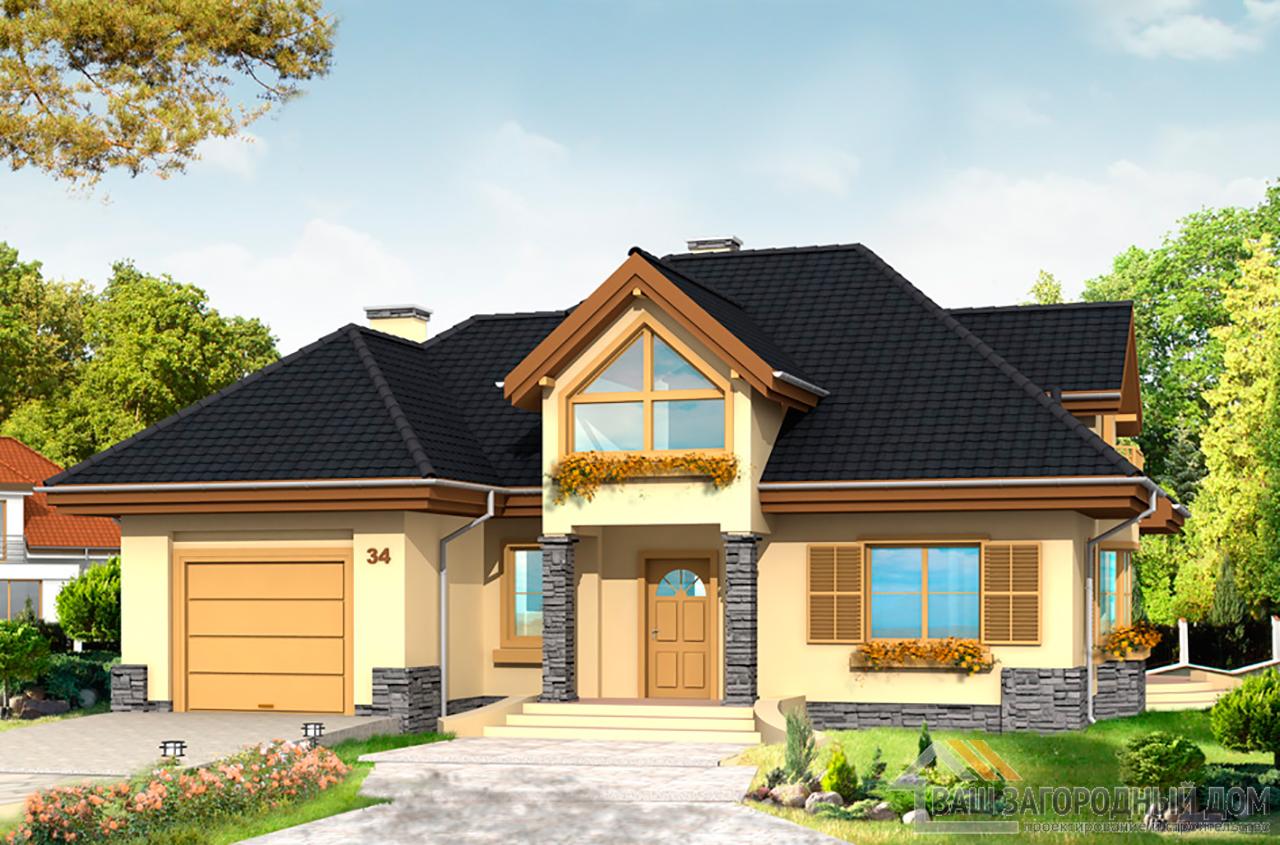 Типовой проект одноэтажного дома с мансардой площадью 266 м2