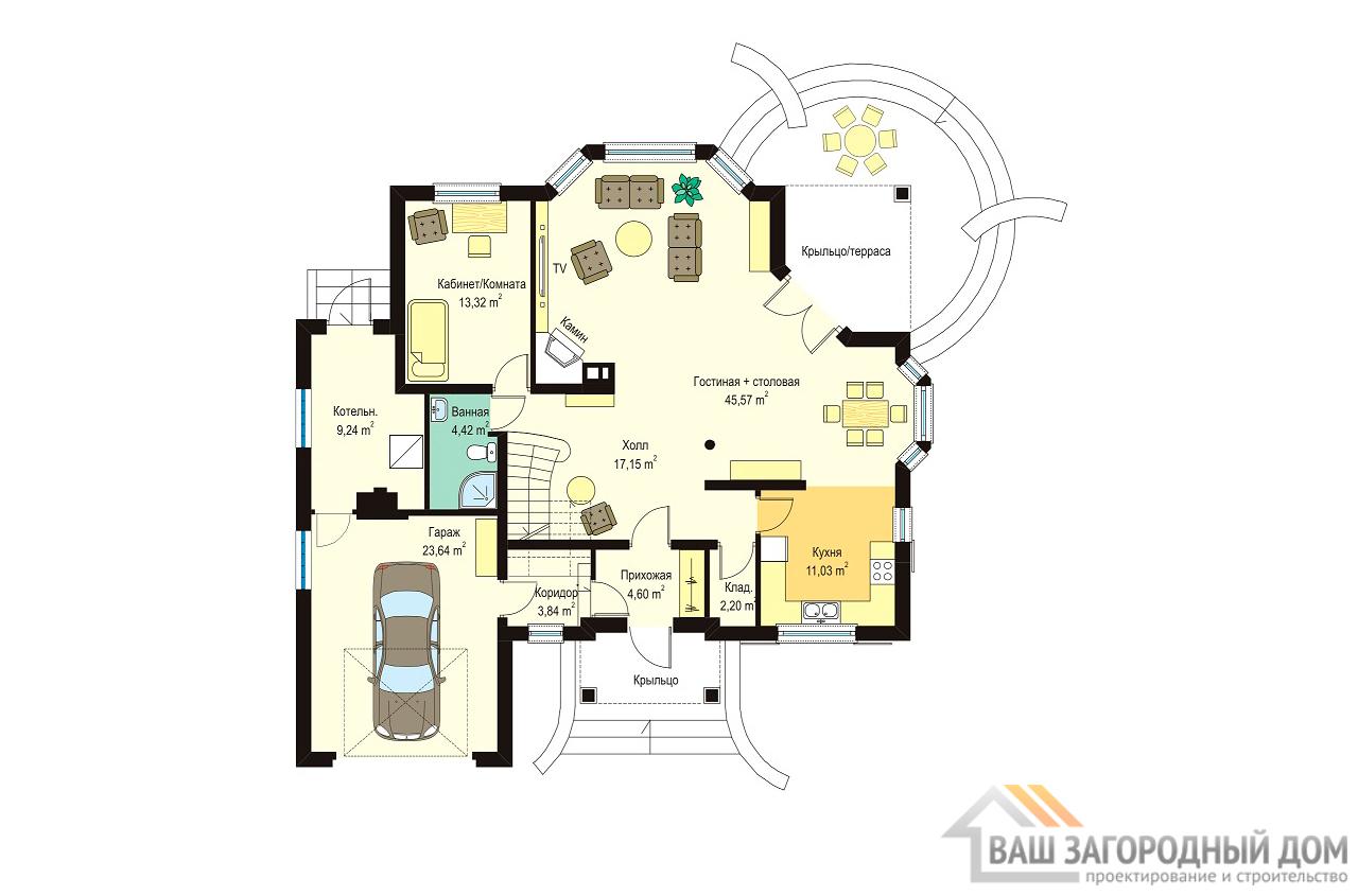 Типовой проект одноэтажного дома с мансардой площадью 266 м2  вид 5