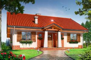 Проект одноэтажного дома  площадью 120 м2 прямоугольной формы