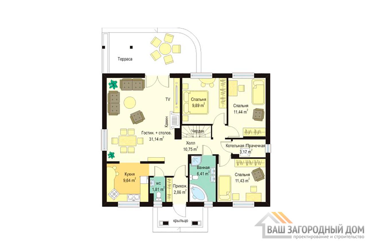 Проект одноэтажного дома  площадью 120 м2 прямоугольной формы вид 4