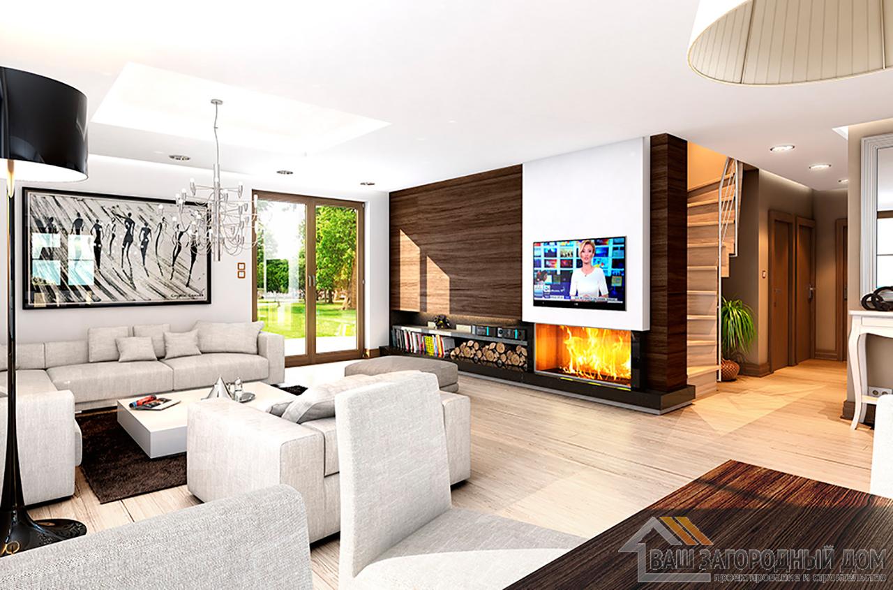 Проект одноэтажного дома  площадью 120 м2 прямоугольной формы вид 5