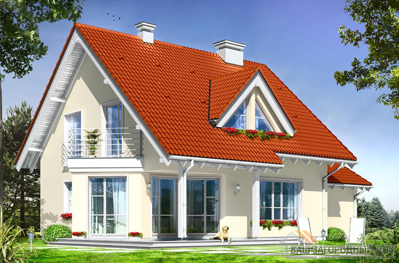 Проект одноэтажного дома с мансардой площадью 198 м2 + гараж на одно авто