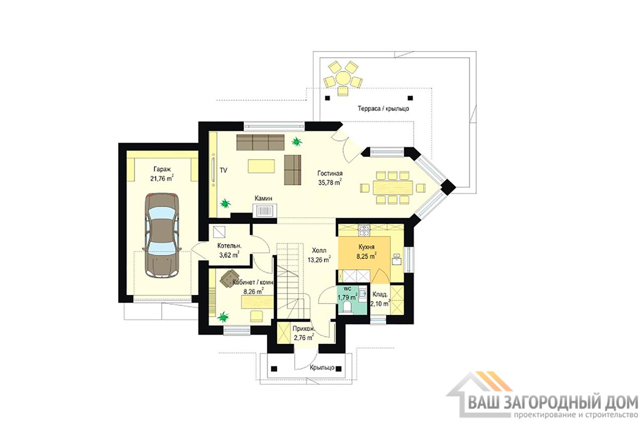 Проект одноэтажного дома с мансардой площадью 198 м2 + гараж на одно авто вид 5