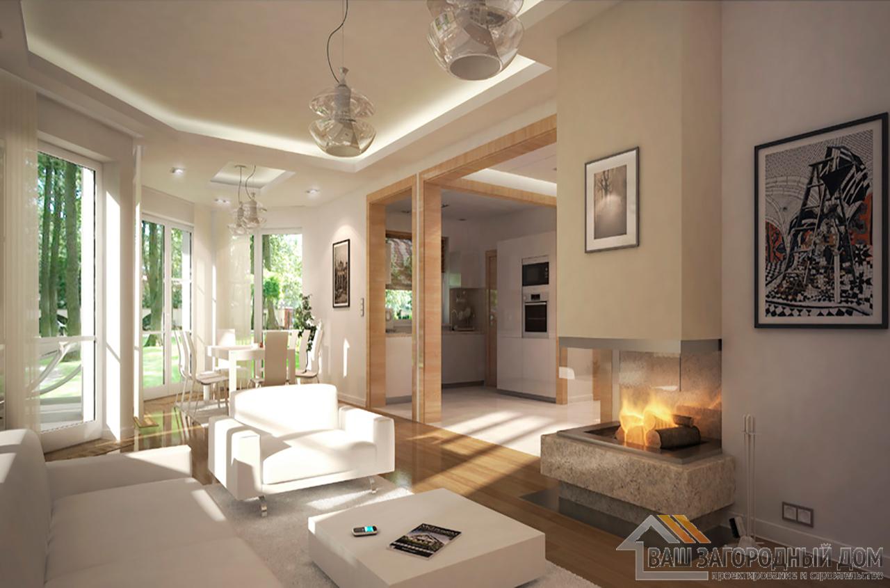 Проект одноэтажного дома с мансардой площадью 198 м2 + гараж на одно авто вид 6