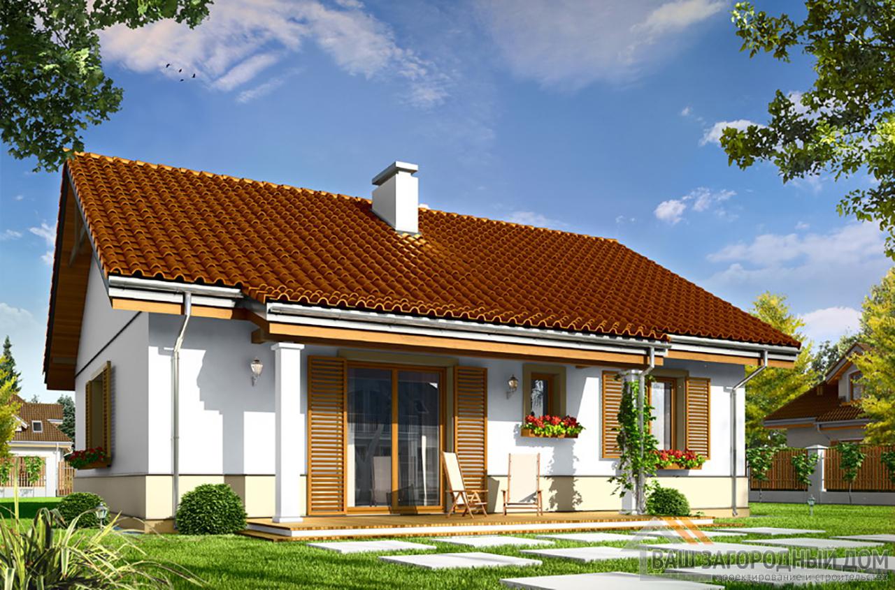 Типовой проект одноэтажного дома на 3-4 человека площадью 107 м2