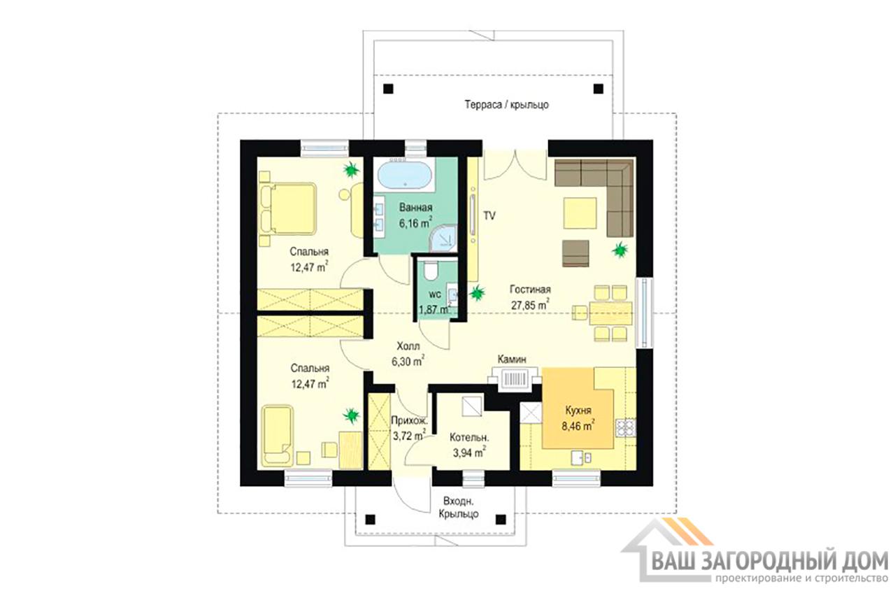 Типовой проект одноэтажного дома на 3-4 человека площадью 107 м2  вид3