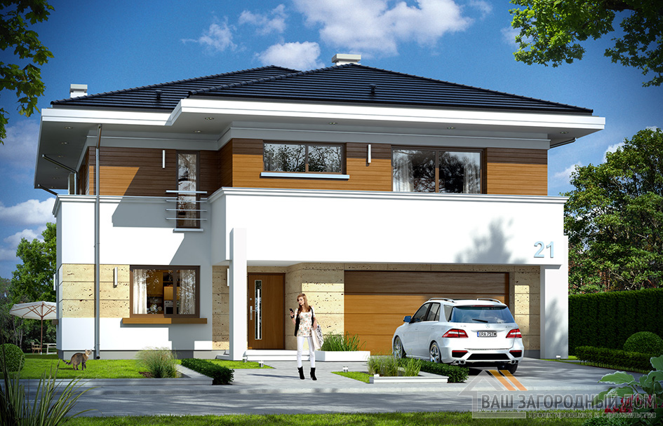 Готовый проект роскошного двухэтажного дома площадью 372 м2 + гараж