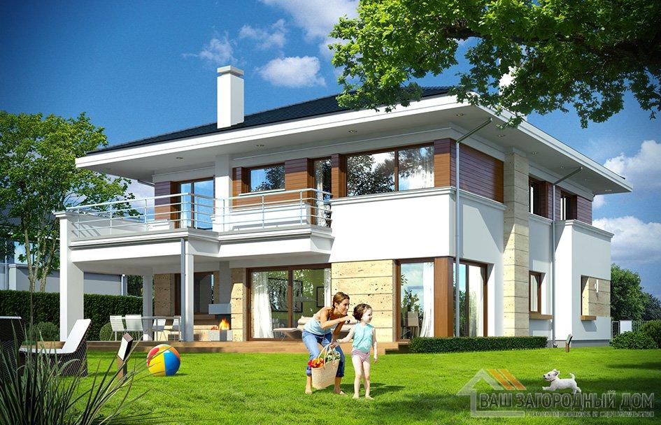 Готовый проект роскошного двухэтажного дома площадью 372 м2 + гараж вид 5