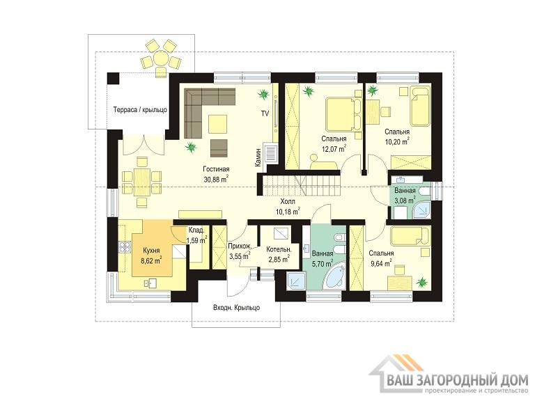 Проект дома в один этаж с чердаком  площадью 128 м2 вид 4