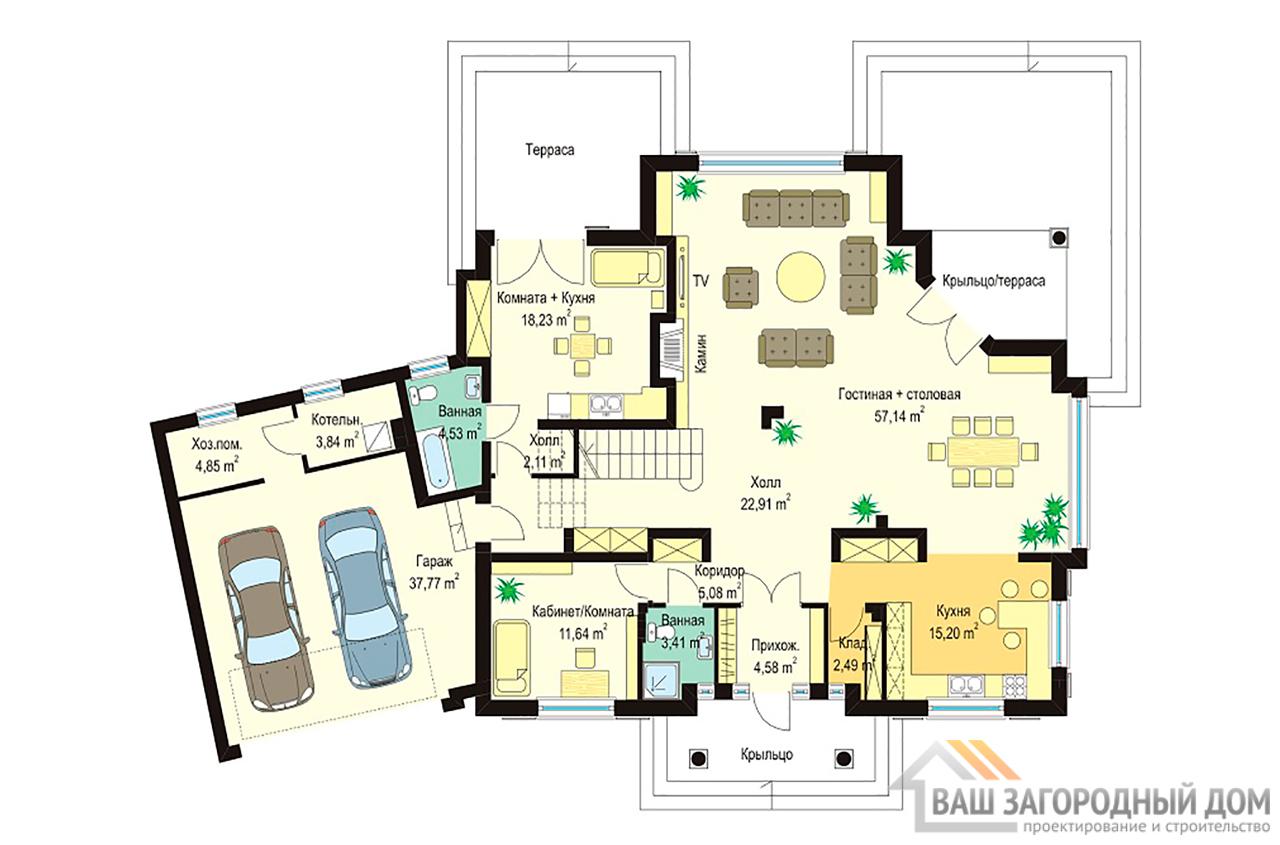 Готовый проект элегантного одноэтажного дома с жилым чердаком площадью 378 м2  вид 2