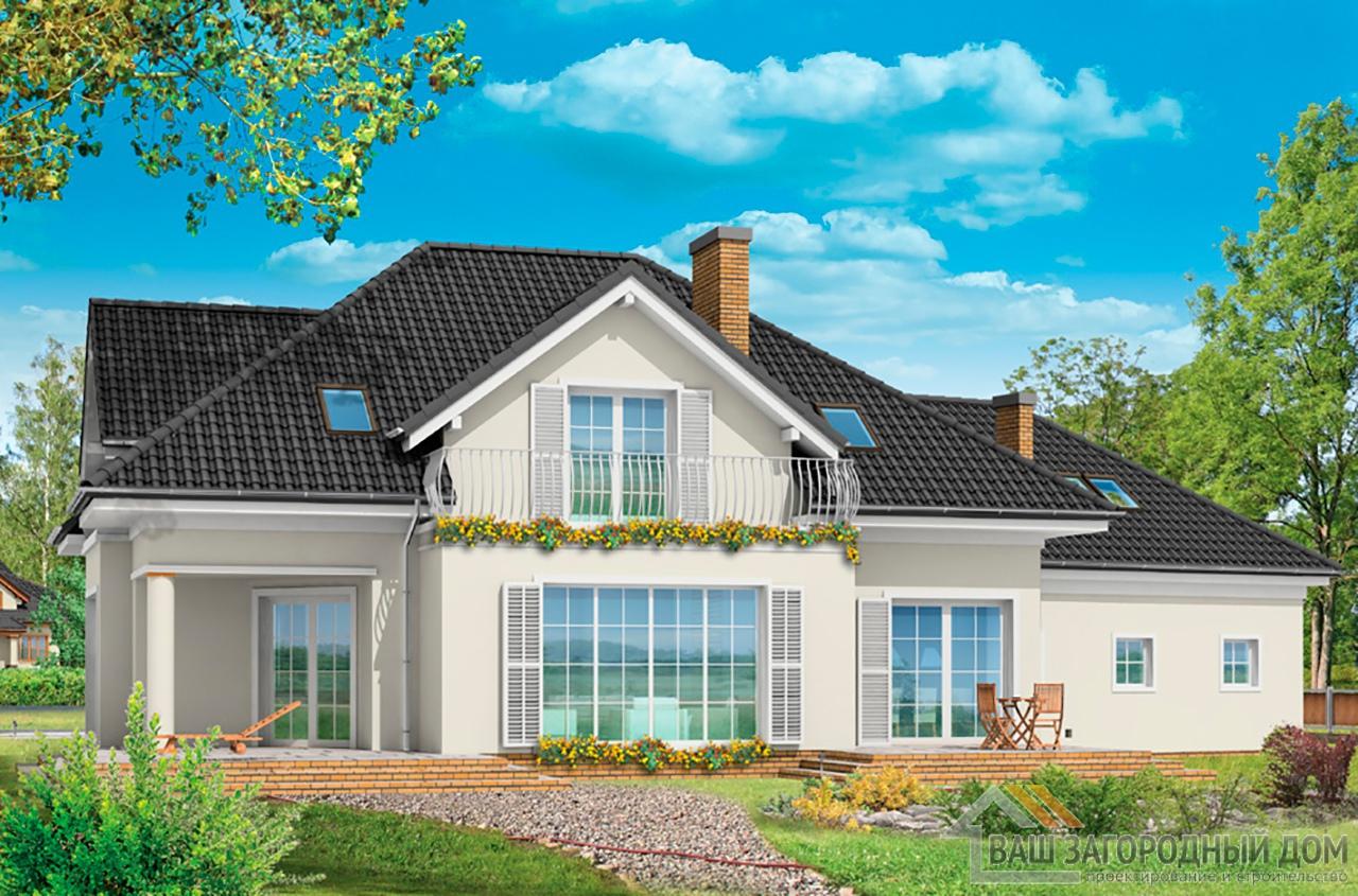 Готовый проект элегантного одноэтажного дома с жилым чердаком площадью 378 м2  вид 3