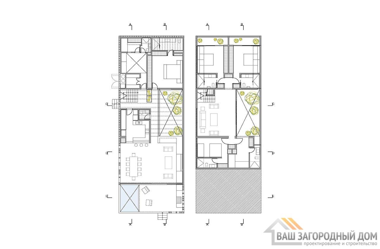 Проект двухуровневого дома в стиле хай-тек общей площадью 450 м2, К-145034 вид 5