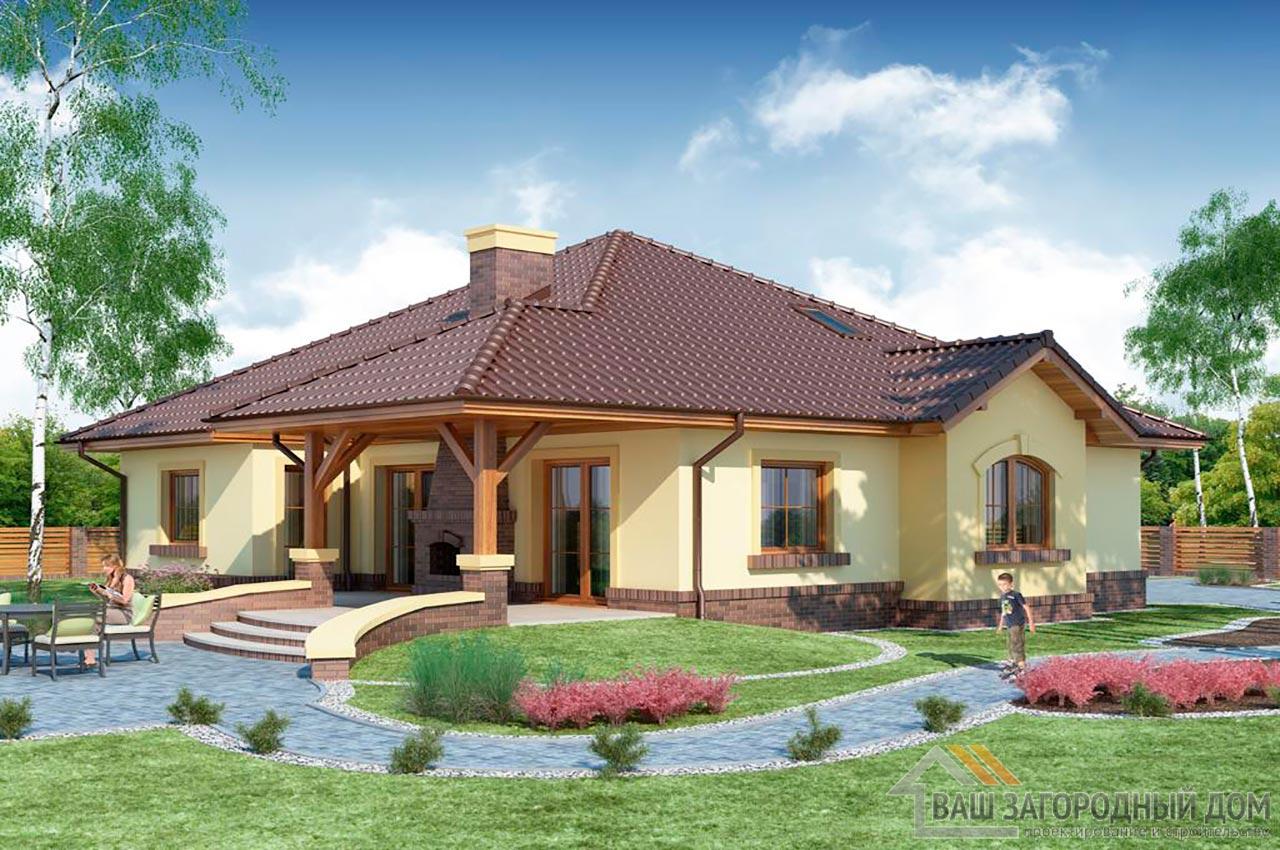Проект готового одноэтажного дома с теплым чердаком общей площадью 201 м2, К-120115 вид 2