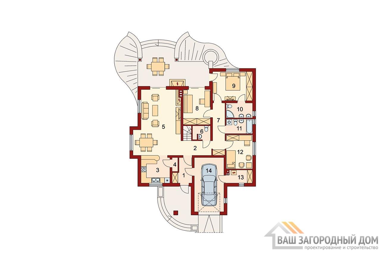 Проект готового одноэтажного дома с теплым чердаком общей площадью 201 м2, К-120115 вид 5