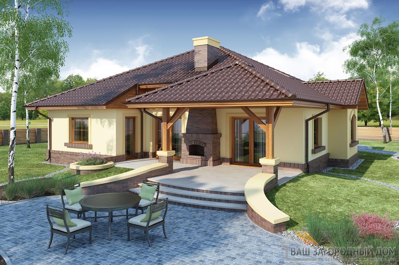 Проект готового одноэтажного дома с теплым чердаком общей площадью 201 м2, К-120115 вид 3