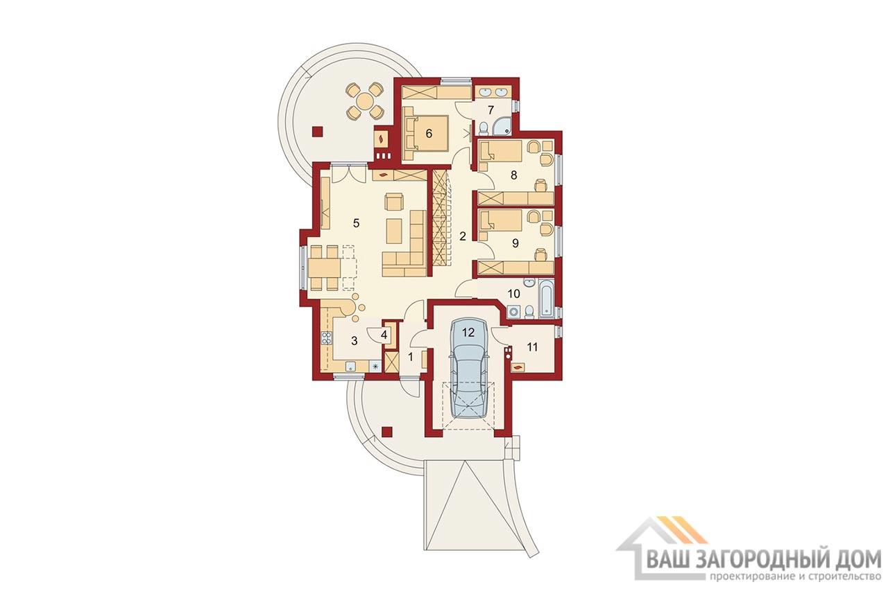 Проект одноэтажного дома 202 м2, K-120215 вид 4
