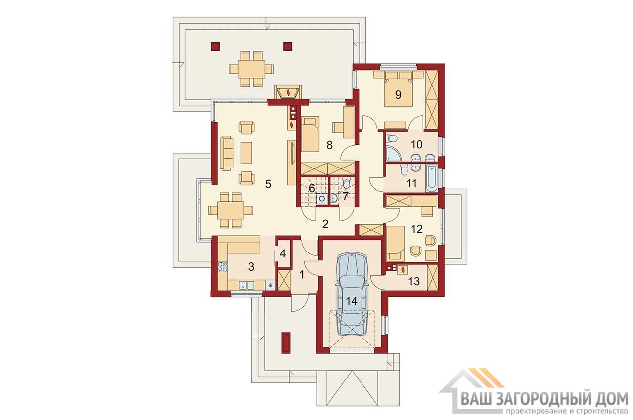 Типовой проект дома в один этаж площадью 219 м2, К-121916 вид 5