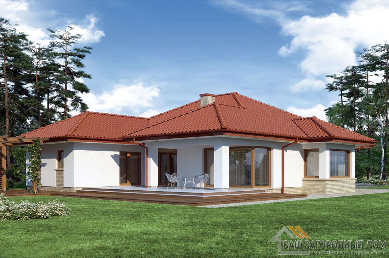 Проект одноэтажного дома 14 х 19 общей площадью 288 м2, К-128822 вид 4