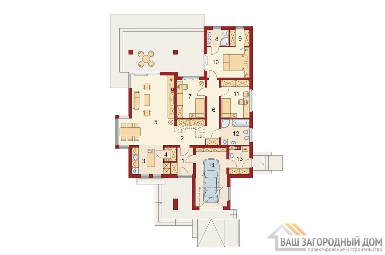 Проект одноэтажного дома 14 х 19 общей площадью 288 м2, К-128822 вид 5