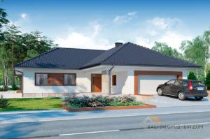 Проект одноэтажного дома площадью 296 м2 + гараж на 2 автомобиля, К129623