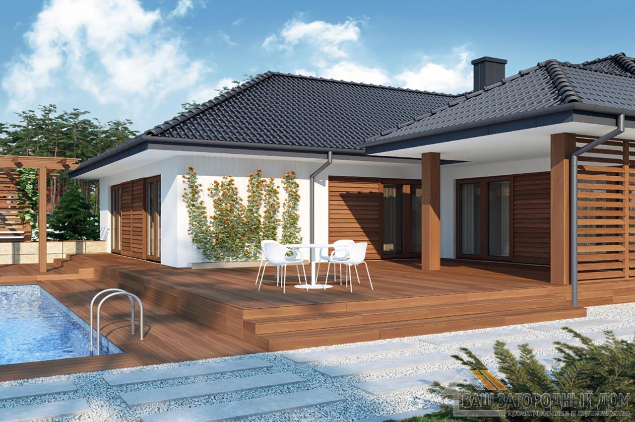 Проект одноэтажного дома площадью 296 м2 + гараж на 2 автомобиля, К129623 вид 2