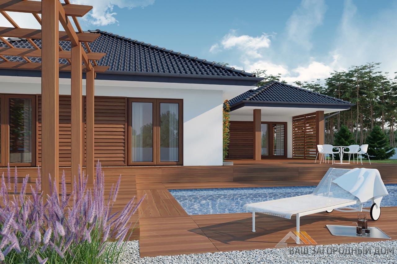Проект одноэтажного дома площадью 296 м2 + гараж на 2 автомобиля, К129623 вид 3
