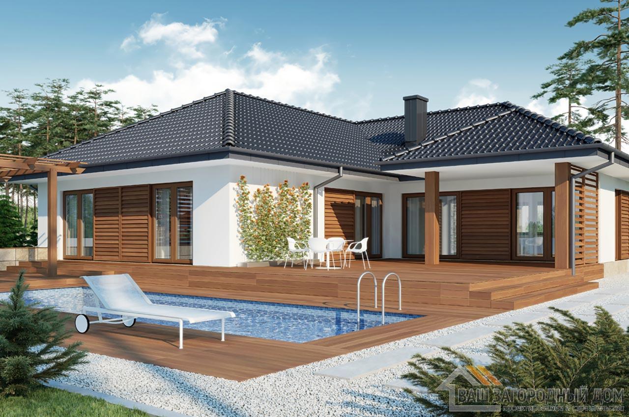 Проект одноэтажного дома площадью 296 м2 + гараж на 2 автомобиля, К129623 вид 4