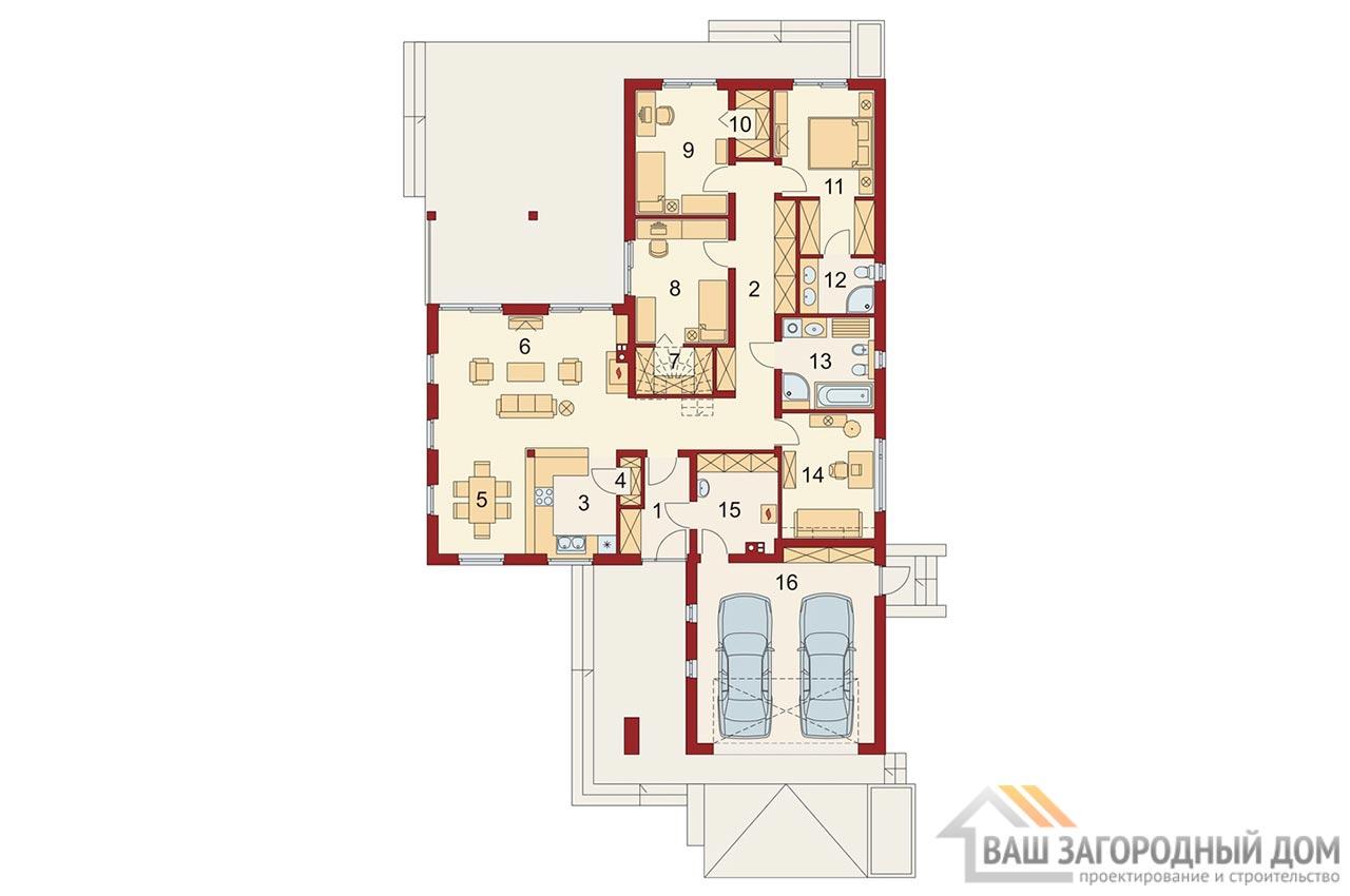 Проект одноэтажного дома площадью 296 м2 + гараж на 2 автомобиля, К129623 вид 5