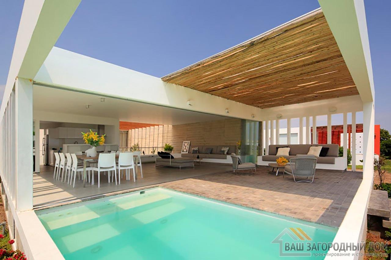 Проект двухуровневого дома в стиле хай-тек общей площадью 450 м2, К-145034 вид 4