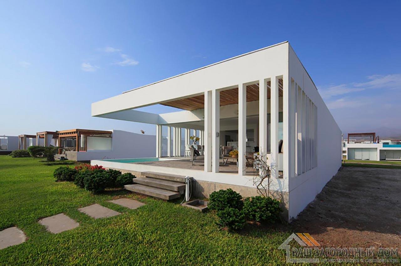 Проект двухуровневого дома в стиле хай-тек общей площадью 450 м2, К-145034 вид 2