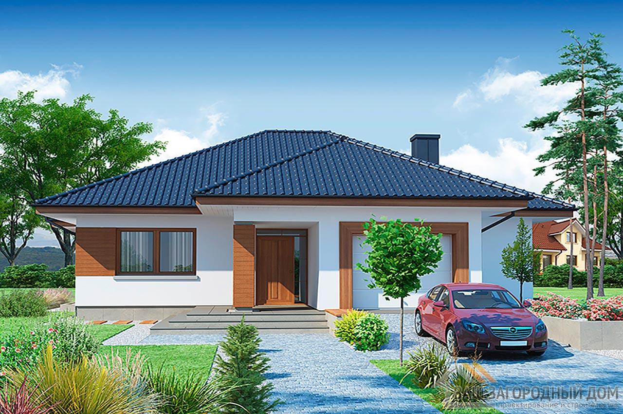Готовый проект дома в один этаж + гараж на одно авто, общей площадью 192 м2, К-119215