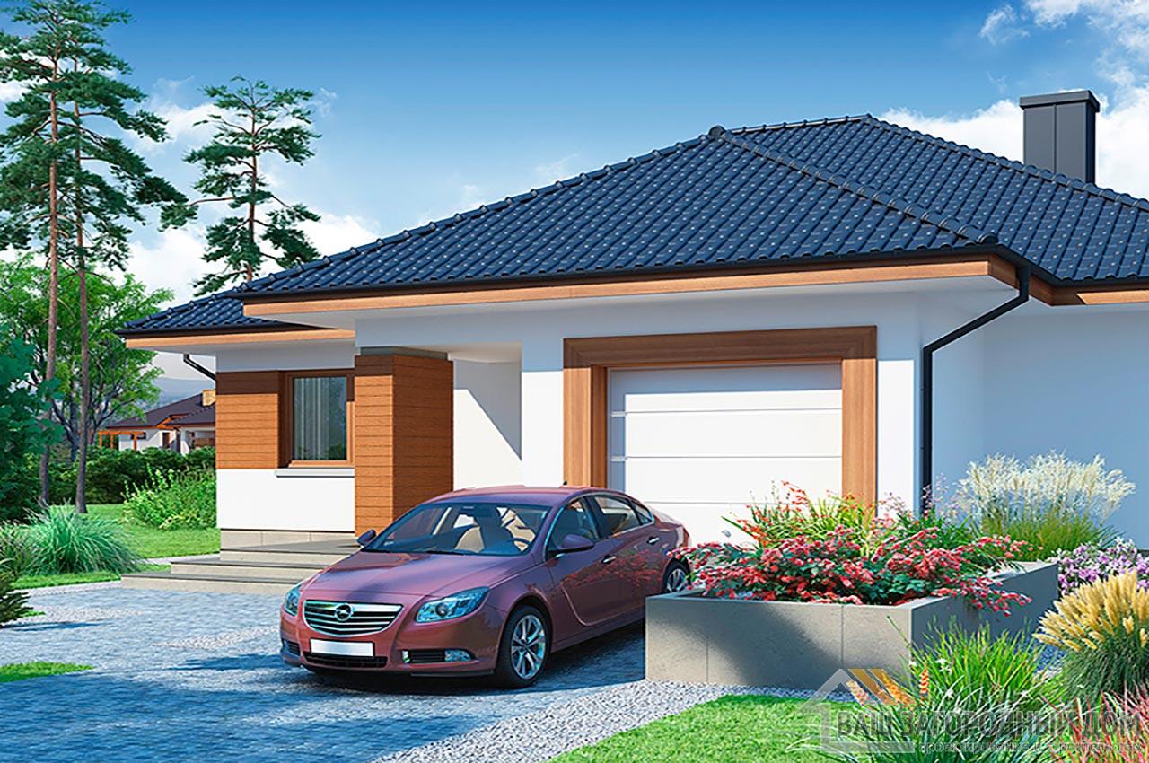 Готовый проект дома в один этаж + гараж на одно авто, общей площадью 192 м2, К-119215 вид 2