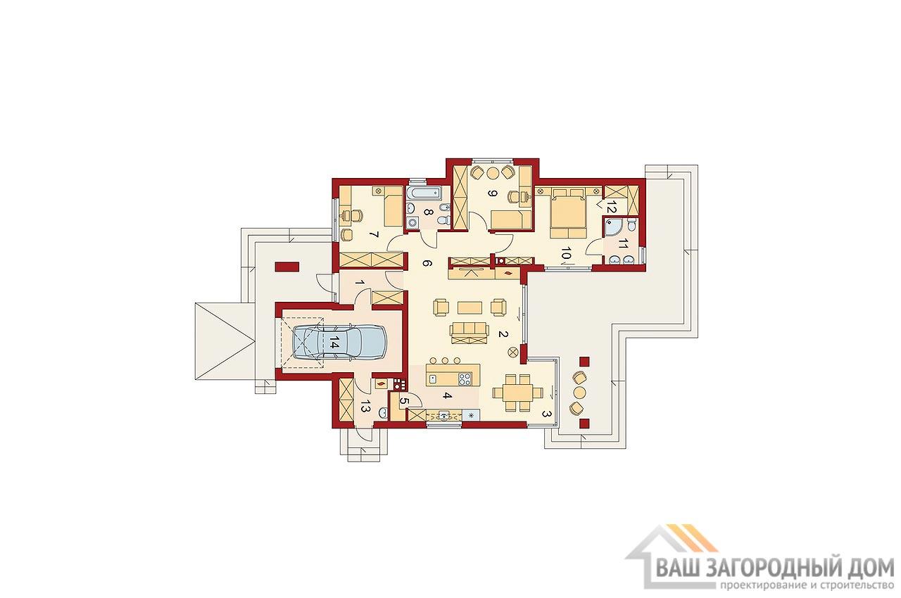 Готовый проект дома в один этаж + гараж на одно авто, общей площадью 192 м2, К-119215 вид 5