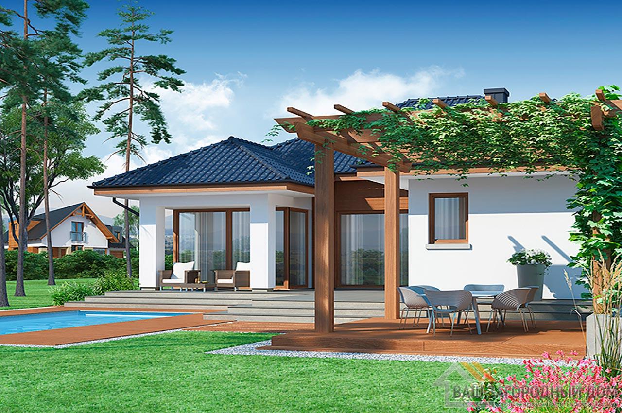 Готовый проект дома в один этаж + гараж на одно авто, общей площадью 192 м2, К-119215 вид 4