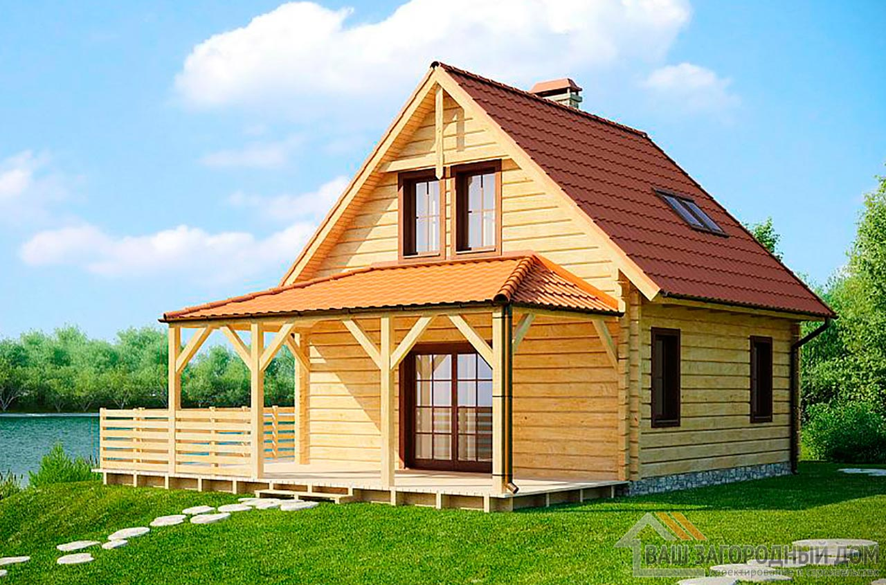 Готовый проект дома в один этаж с мансардой общей площадью 61м2, К-161458 вид 2